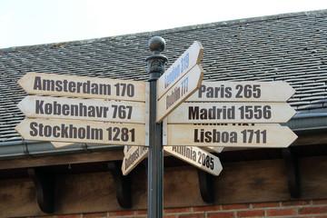 Señal indicador de distancia y dirección a ciudades europeas