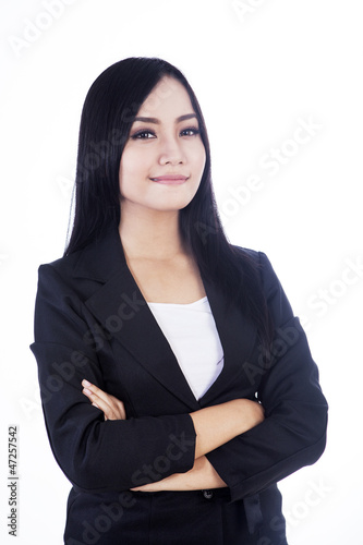 Confident business woman isolated in white