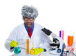 Nerd crazy scientist man portrait working at laboratory