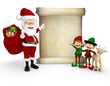 3D Santa with a Christmas list