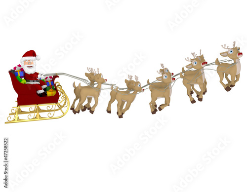 3D Santa on a sleigh