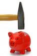sparschwein mit hammer