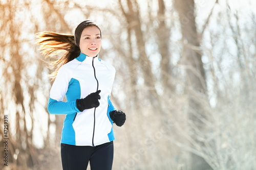 Foto op Canvas Wintersporten Running sport woman