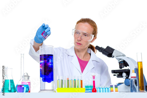 chemical laboratory scientist woman with test tube