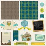 Scrapbook Design Elements - Vintage Travel Set- in vector poster
