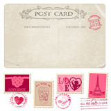 Vintage Postcard and Postage Stamps - for wedding design, scrap