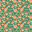 Vector magical flowers and leaves elegant seamless pattern