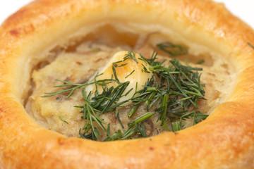 delicious pot pie on a white background