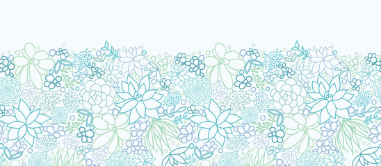 Vector Succulent Plants Horizontal Seamless Pattern Ornament