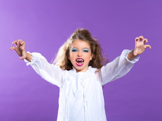 Children vampire makeup kid girl on purple
