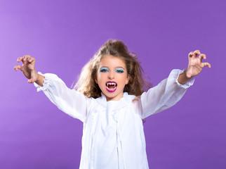 Children vampire makeup kid girl on purple