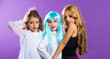 children group of fashiondoll fashion girls on purple