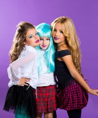 children group of fashiondoll fashion girls on purple