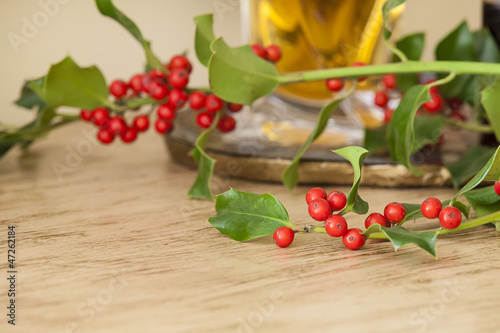 Christmas decoration with european Mistletoe