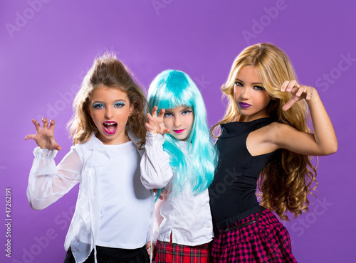 children group of fashiondoll scaring girls on purple