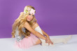 blond princess fashion girl with spring flowers