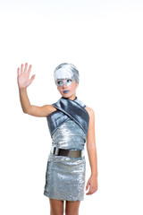 children futuristic fashion children girl silver makeup