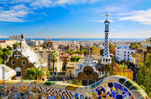 canvas print picture Park Guell in Barcelona, Spain