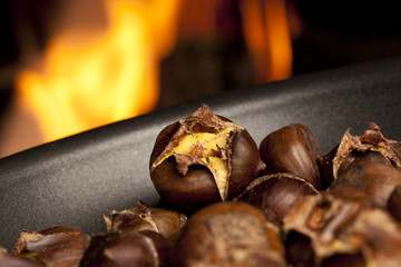 Organic Brown Chestnuts Roasting