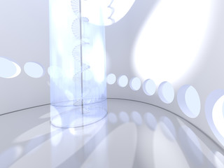 Futuristic round indoor with glass spiral staircase
