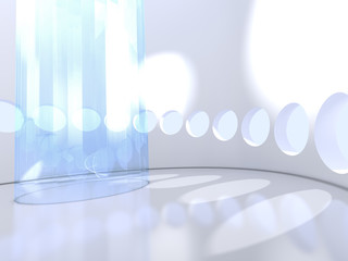 Futuristic modern round indoor with glass