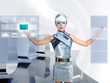 futuristic children girl touch finger copyspace screen