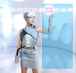 futuristic children girl in silver touch finger icloud icon