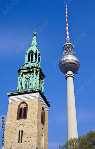 TV Tower and St Marienkirche in Berlin