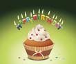 """""""Happy Birthday"""" Cupcake mit Buchstabenkerzen"""