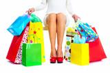 Fototapety Beautiful Christmas Shopping woman.