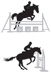 Show jumping Horse vector silhouettes
