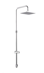 Chrome shower head wall type on white background