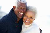 Fototapety Romantic Senior Couple Hugging On Beach