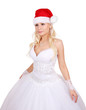 beautiful bride with Santa hat isolated on white