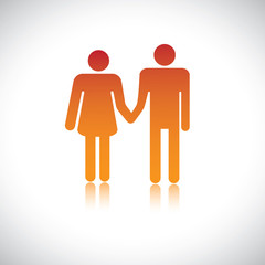 Illustration of husband wife holding together. This graphic repr
