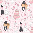 Wedding seamless pattern. Hand drawing