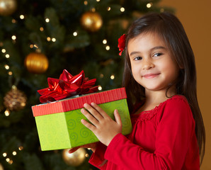 Girl Holding Christmas Present In Front Of Tree