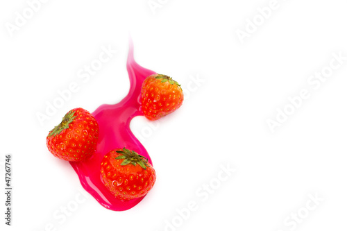 Red tasty strawberry in sweet syrup