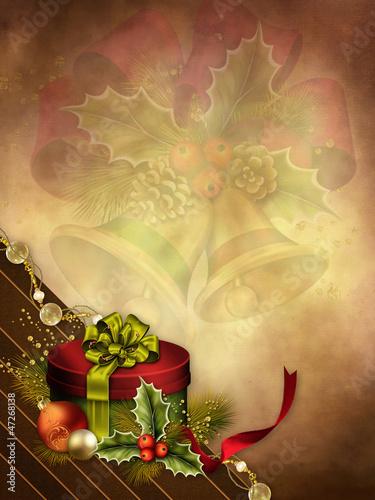 Świąteczne tło z kolorowym prezentem i bombkami
