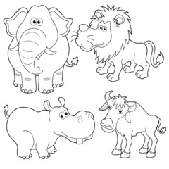 illustration of Wild animals cartoons outline