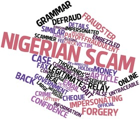 Word cloud for Nigerian scam