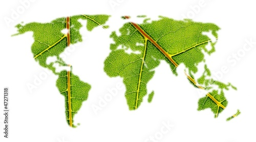 Poster Wereldkaart world map with leaf texture
