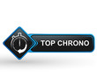 top chrono sur bouton web carré design bleu