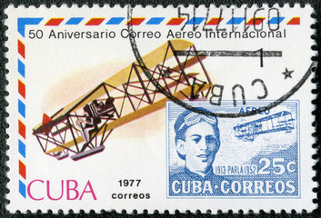 CUBA-1977: Biplane and old post stamp with Agustin Parla