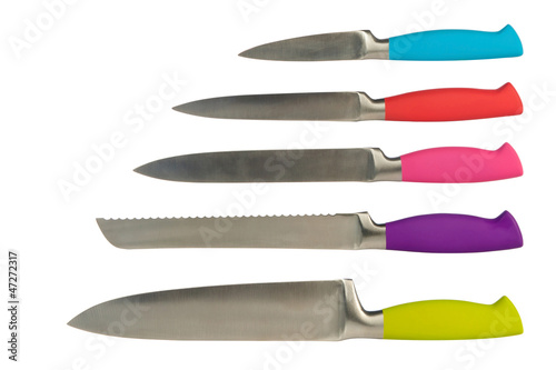 set of five knives for the kitchen