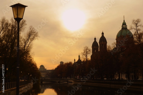 A Silhouette Of The Munich, Germany Skyline At Sunset