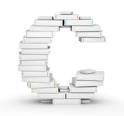 Letter C, stacked from blank books