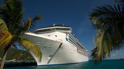 Kreuzfahrtschiff mit Palmen