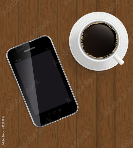 Abstract design phone, coffee on boards Background vector Illus