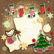Wooden board with Christmas ornaments and paper